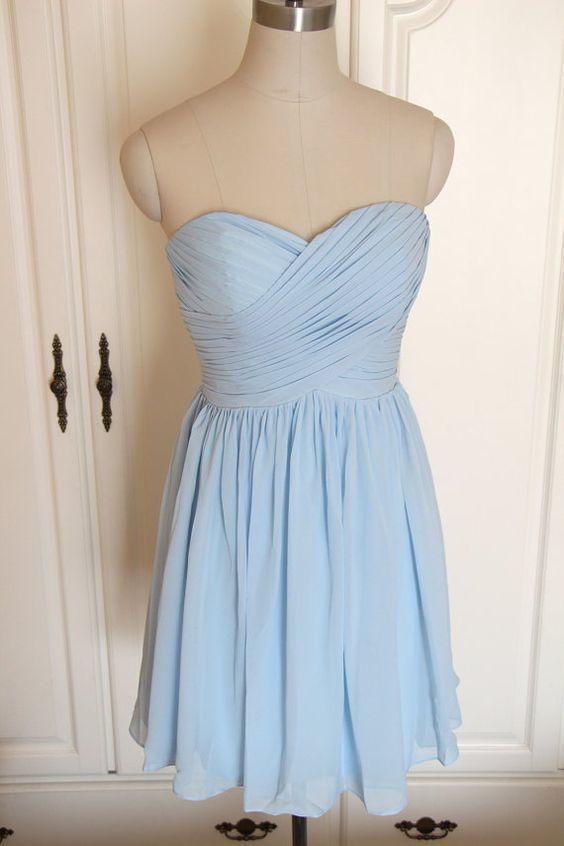 Sky Blue Chiffon Sweetheart Knee Length Party Dress, Blue Bridesmaid Dress