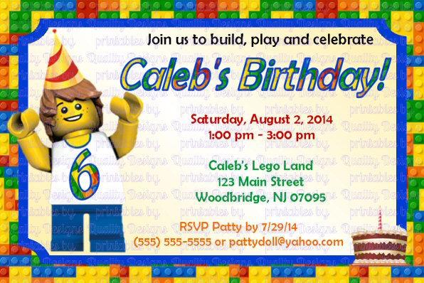Building Blocks Printable Birthday Invitation, Lego, DIY