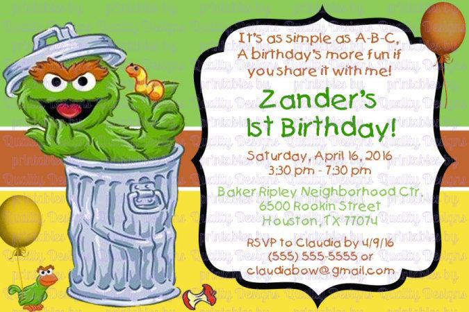 Oscar The Grouch Printable Birthday Invitation Garbage Can Diy
