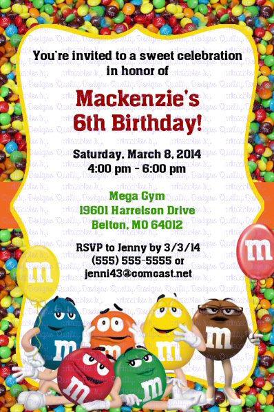 M&Ms Candy Printable Birthday Invitation, Red, Yellow, Blue, Green, DIY