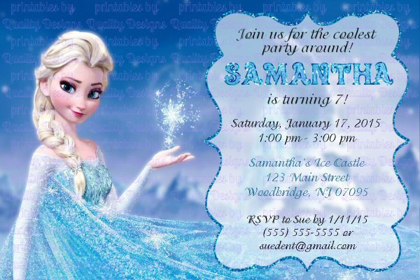 image relating to Frozen Birthday Card Printable known as Elsa Printable Birthday Invitation, Frozen, Do-it-yourself