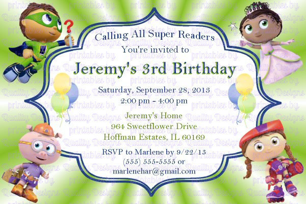 picture regarding Super Why Printable named Tremendous Why Printable Birthday Invitation, Do-it-yourself