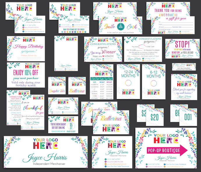 Dot Dot Smile Marketing Bundle, Personalized Dot Dot Smile Cards, Watercolor Dot