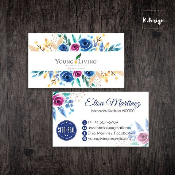 Young Living Business Cards, Personalized Young Living Business Card, Watercolor