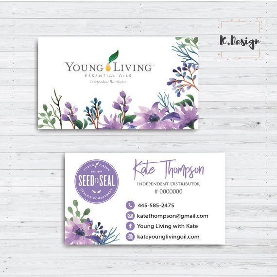 Young Living Business Cards, Watercolor Young Living Business Card, Personalized
