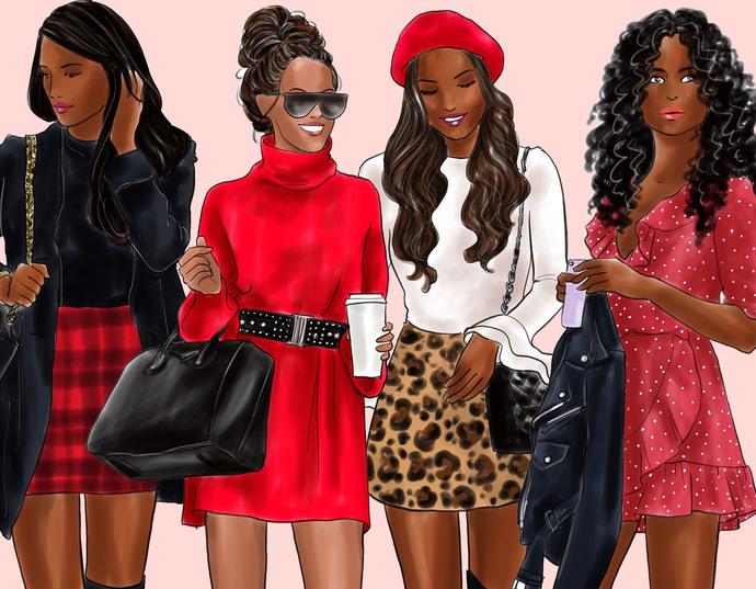 Watercolour fashion illustration clipart - Girls in Boots 1 - Dark Skin
