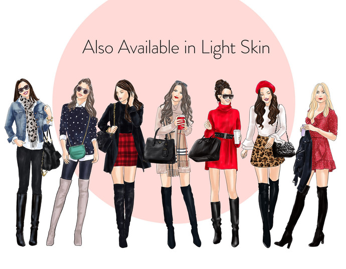 Watercolour fashion illustration clipart - Girls in Boots 1 - Dark Skin
