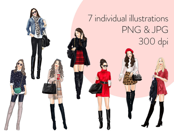 Watercolour fashion illustration clipart - Girls in Boots 1 - Light Skin