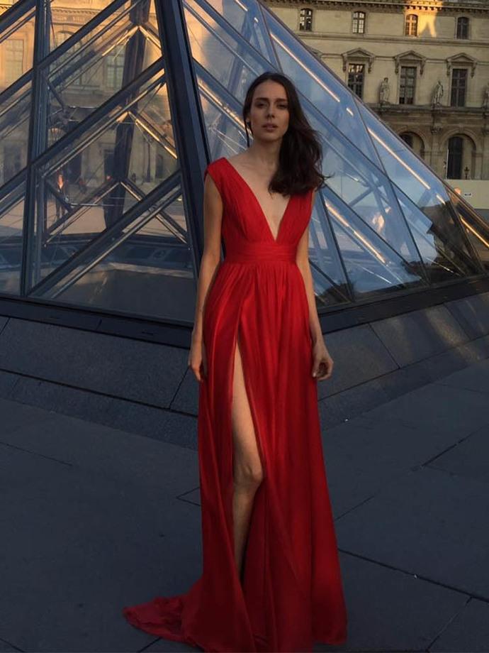 de16a1235a Sexy Deep V Neck Red Long Prom Dresses by prom dresses on Zibbet