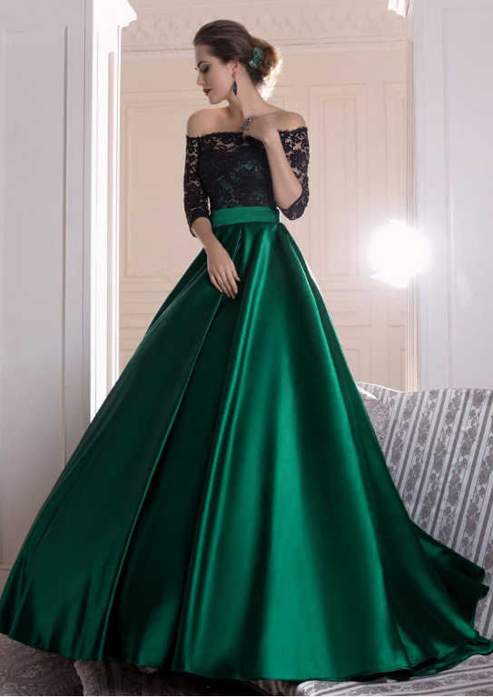 Graceful Lace & Satin Off-the-shoulder Neckline A-line Evening Dresses With