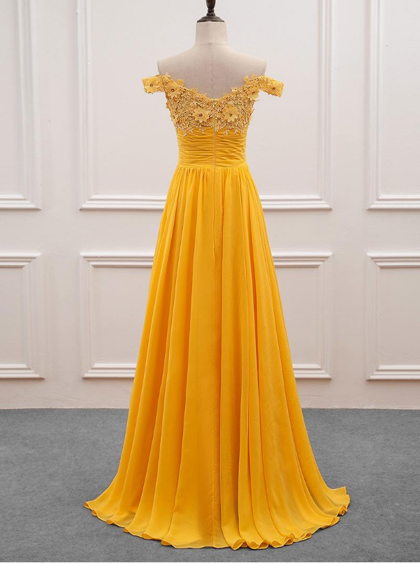 Chiffon Off-the-shoulder Neckline A-Line Prom Dress With Beaded Lace Appliques