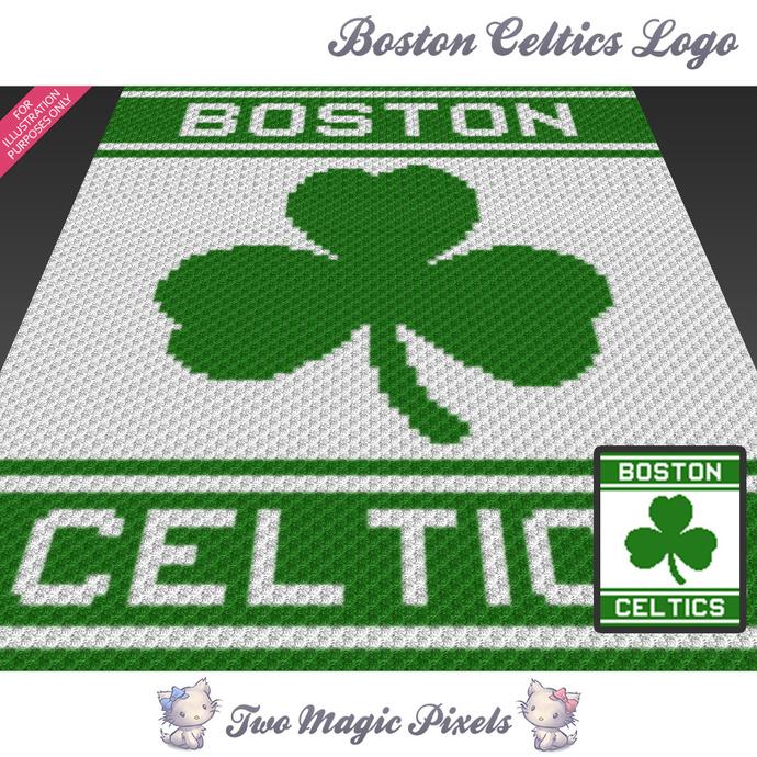 Boston Celtics Logo crochet blanket pattern; c2c, cross stitch graph; pdf