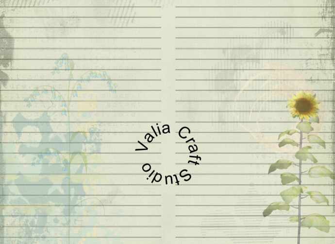 Floral Lined Papers,  Printable Journal kit. Instant Download.