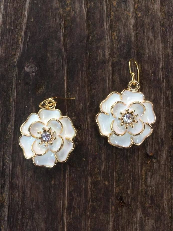 White Enamel Flower Earrings