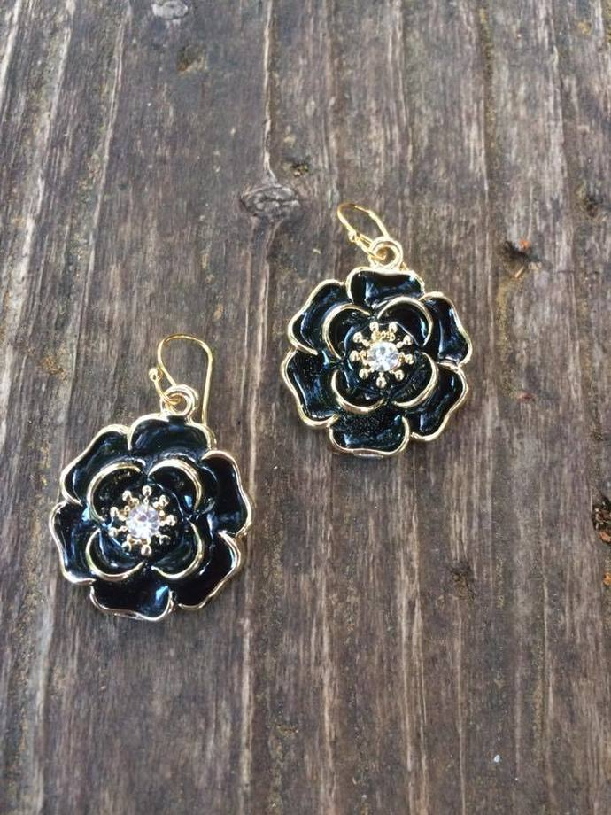 Black Enamel Flower Earrings