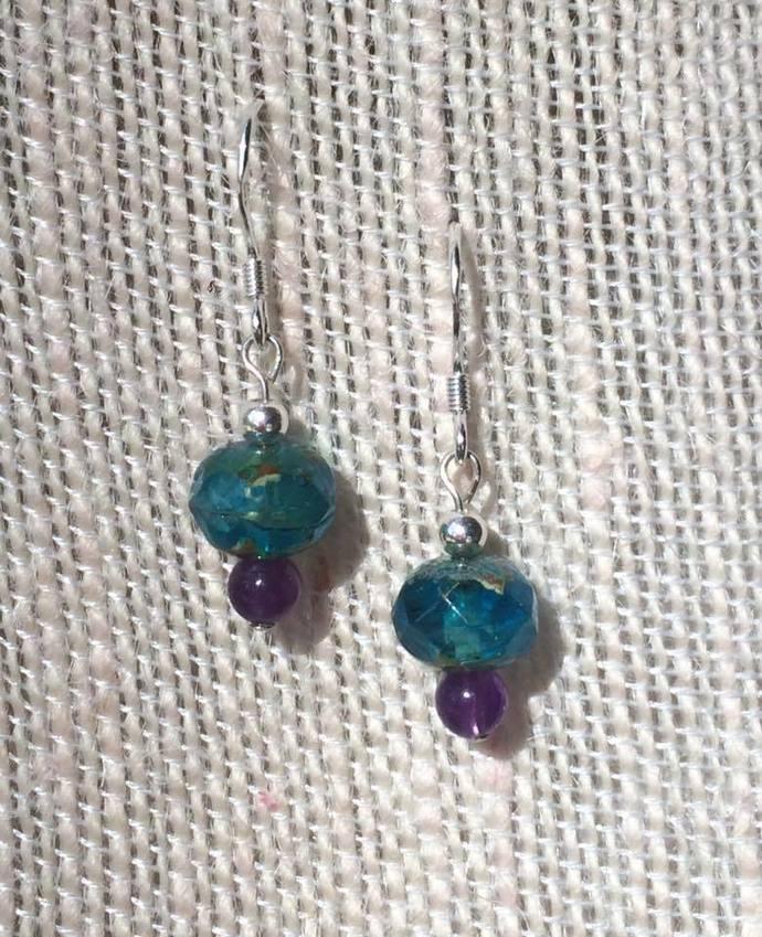 Aqua Quartz and Amethyst Earrings