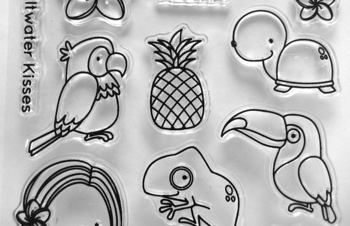 Aloha Cute Little Hawaiian Girl Clear Stamps, Parrot, Lizard, Turtle