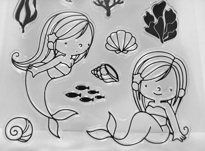 Little Girl Mermaid Clear Stamps, Shells, Coral, Turtle Stamp