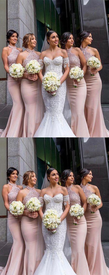 Elegant Mermaid Halter Pink Satin Long Bridesmaid Dress with Lace