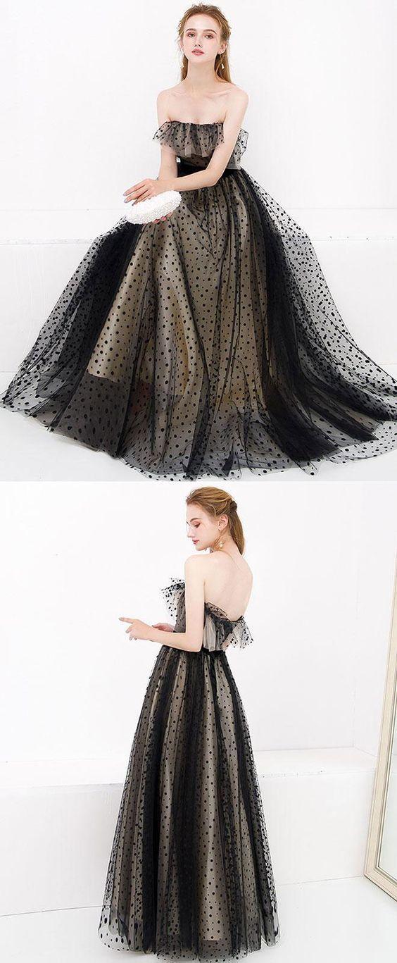 Copy of Black tulle long prom dress, black tulle evening dress, black formal