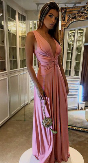 Pink Prom Dress,V-Neck Prom Gown,Satin Prom Dress,Mermaid Prom Gown 0669