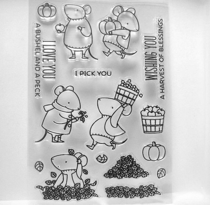 Country Mouse Clear Stamps, Apple Basket, Leaves, Word Stamp