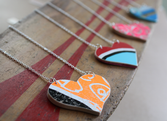 Recycled Skateboard Custom Heart Necklace