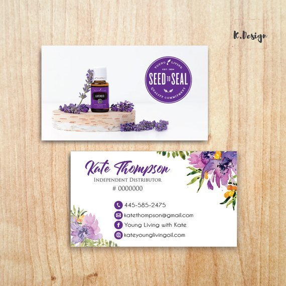 Personalized Young Living Business Card, PRINTABLE Essential Oils Business
