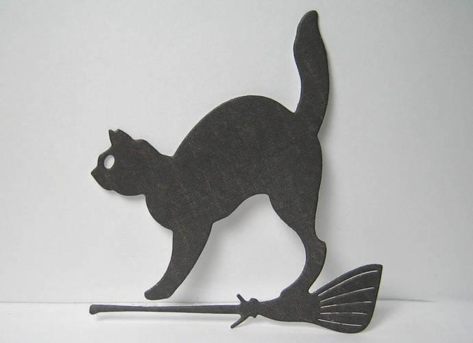 Cat on Broom Halloween Cutting Die