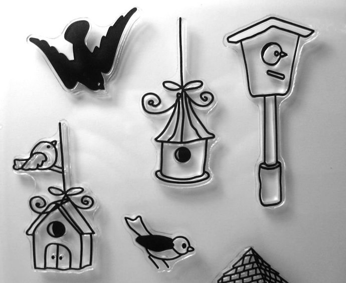Birdhouse and Birds Clear Stamp Set