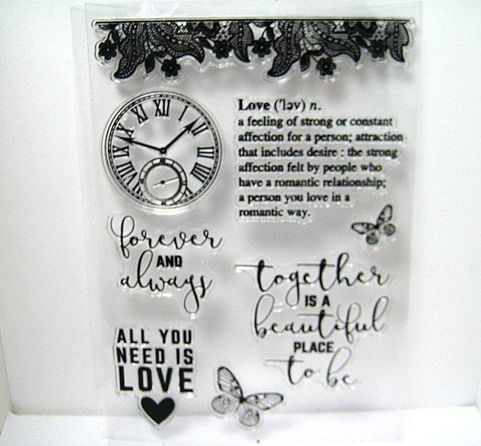 Love Lace Clock Sentiments Clear Stamp Set