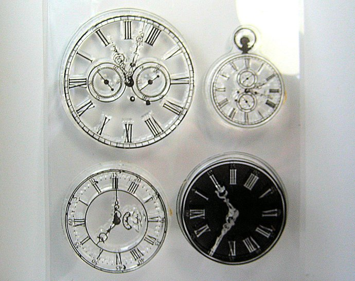 Old Watch Clock Clear Stamp Set