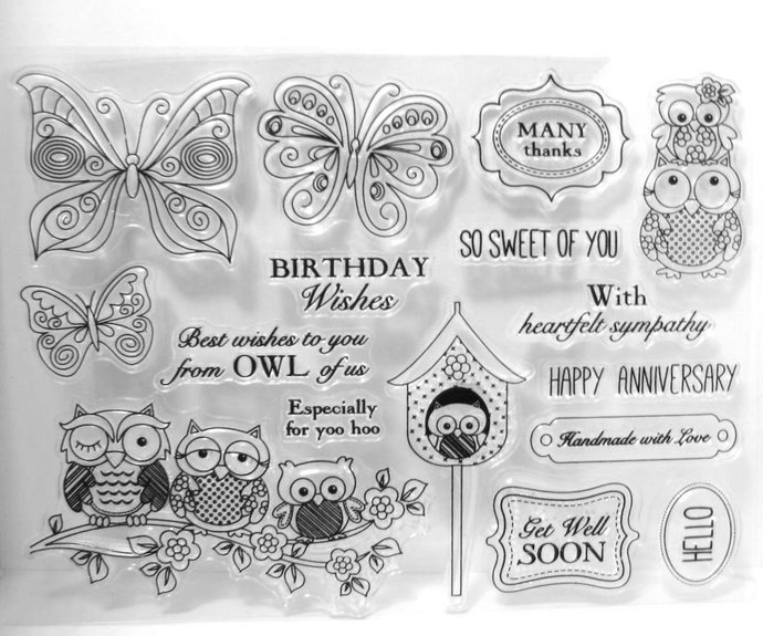 Owls and Butterflies Clear Stamp Set