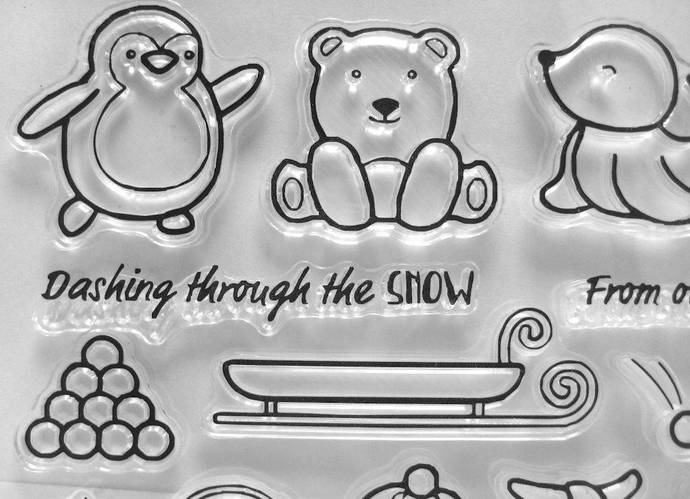 Cute Baby Seal, Penguin, Bear, Sled, Snowballs Clear Stamps