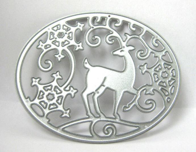 Deer and Snowflakes in Oval Metal Cutting Die