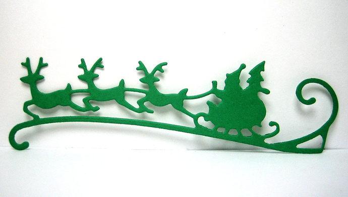 Santa Sleigh and Three Reindeer Metal Cutting Die