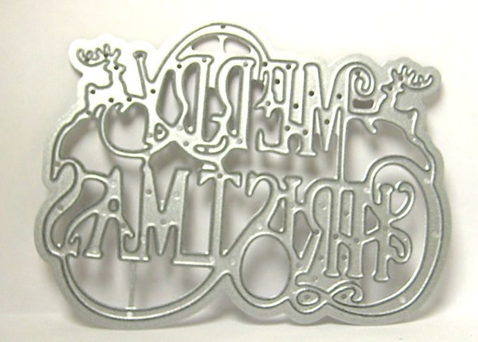 Fancy Merry Christmas w/ Reindeer Metal Cutting Die