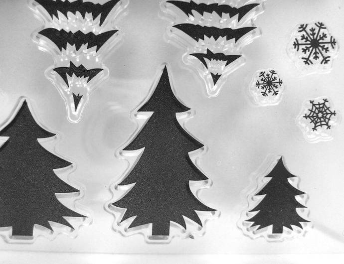 Animals, Pine Trees, House, Snowflake Clear Stamps