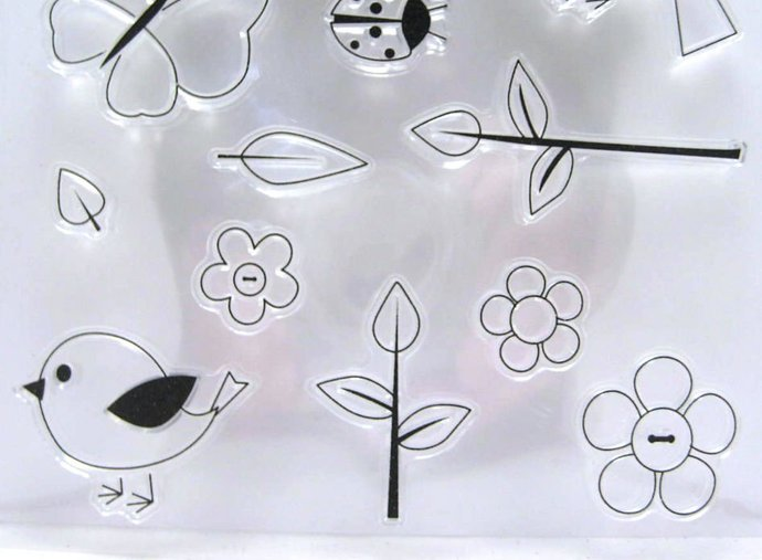 Simple but Cute Flower Bird Clear Stamp Set