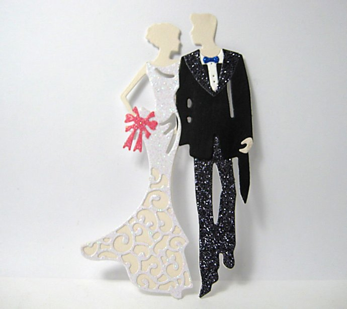 9pc Wedding Couple Bride and Groom Cutting Die Set