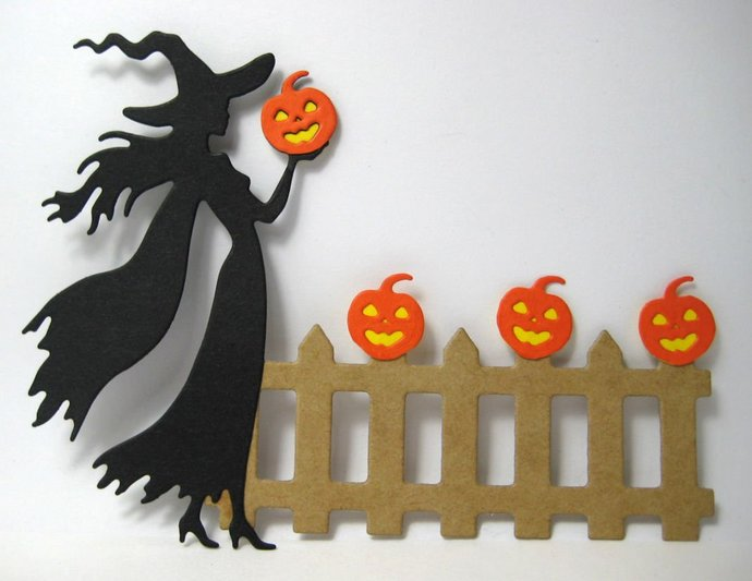Halloween Witch Holding Pumpkin Metal Cutting Die