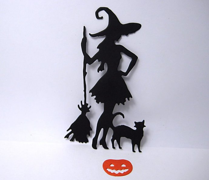 Halloween Witch by Cat and Broom Pumpkin Cutting Dies