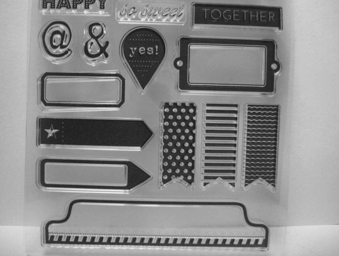 Tabs, Banners, @, &, Sentiments Clear Stamp Set