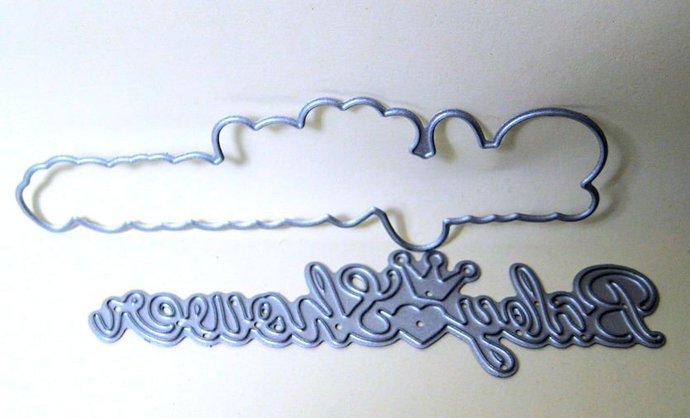 2pc Baby Shower Word Metal Cutting Die Set
