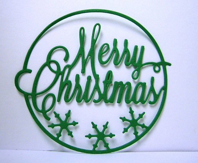 Merry Christmas w/ Snowflakes Metal Cutting Die