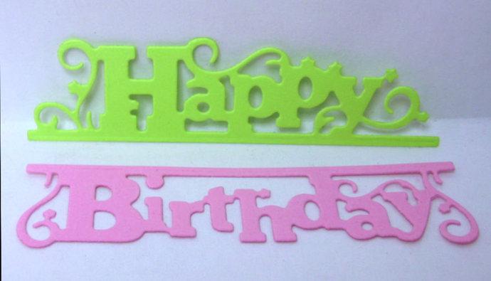 2pc Happy Birthday Cutting Die Set