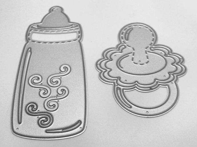 2pc Pacifier and Baby Bottle Cutting Die Set, Baby Shower, Birth Announcement