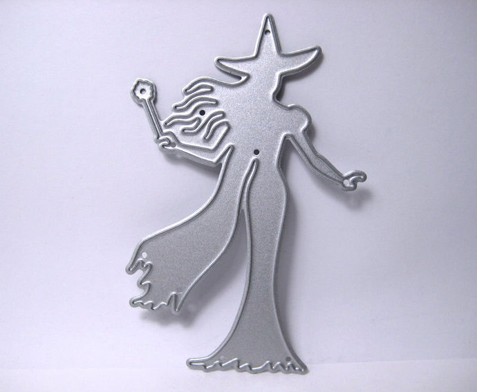 Witch Holding Wand Metal Cutting Die Halloween Die Cuts
