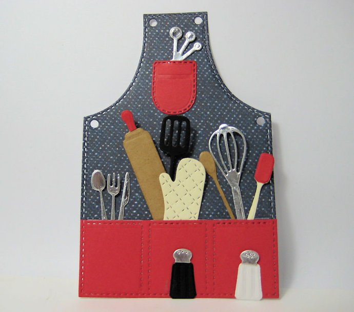 14pc Apron Oven Mitt Kitchen Utensils Metal Cutting Die Set