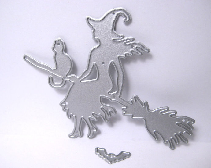Witch and Cat on Broom Bat Metal Cutting Die